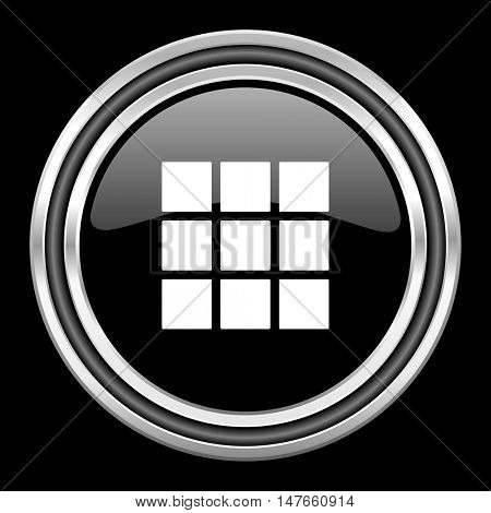 thumbnails grid silver chrome metallic round web icon on black background