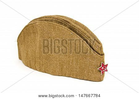 Soldier field cap of the Soviet period on a white background. the USSR