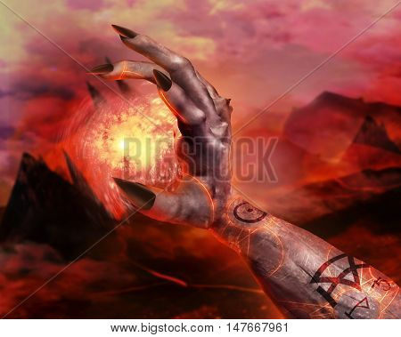 3D illustration of a demonic hand spell first person view. 3d first person view demonic hand holding fireball spell with pentacle glowing signs on hellish landscape background.