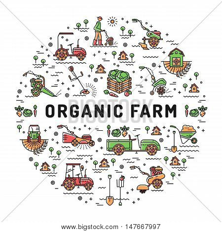 Vector agriculture and organic farm fresh line art icons, Farming design template, Garden tiller and farm machines. Vector illustration agriculture and gardening circle colorful infographics concept