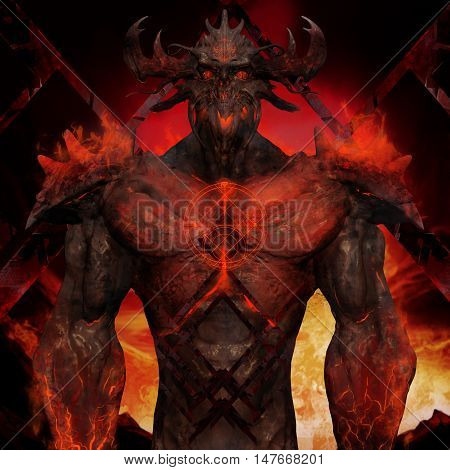 3D illustration of a devil torso art. Artwork of a muscle built hell monster with horns, fire elements, armor and spikes on flame inferno background. poster