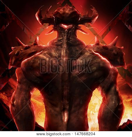 3D illustration of a devil back art. Artwork of a muscle built hell monster back with horns, fire elements, armor and spikes on flame inferno background.