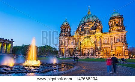 Berliner Dom At Night In Berlin, Germany