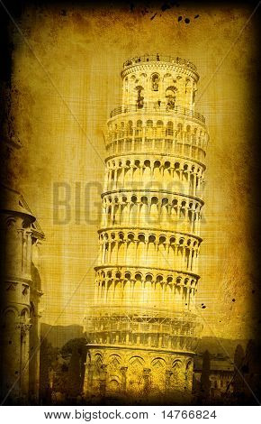 Retro Card - Pisa Tower