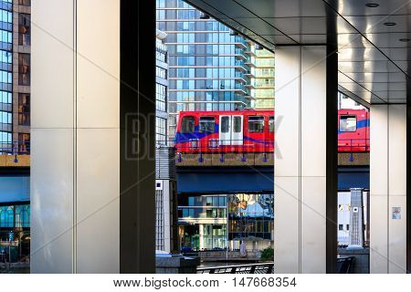 Docklands Light Railway in Canary Wharf financial district in London