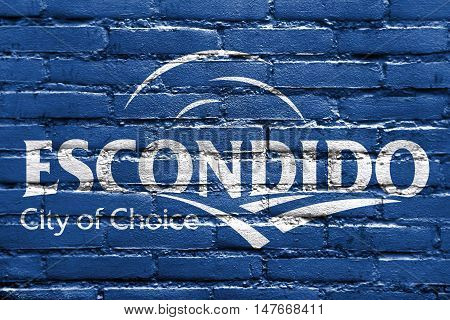 Flag Of Escondido, California, Usa, Painted On Brick Wall