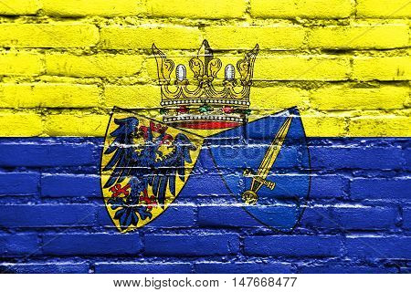 Flag Of Essen, Germany, Painted On Brick Wall