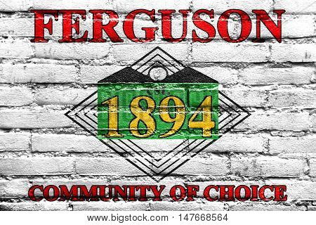 Flag Of Ferguson, Missouri, Usa, Painted On Brick Wall