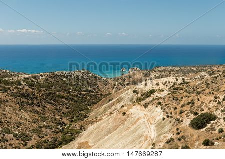 birthplace of Aphrodite in Cyprus. Beach in Mediterranean sea.