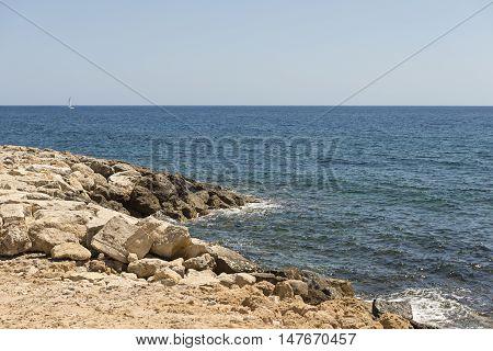 rocky coast in mediterranean sea in Cyprus