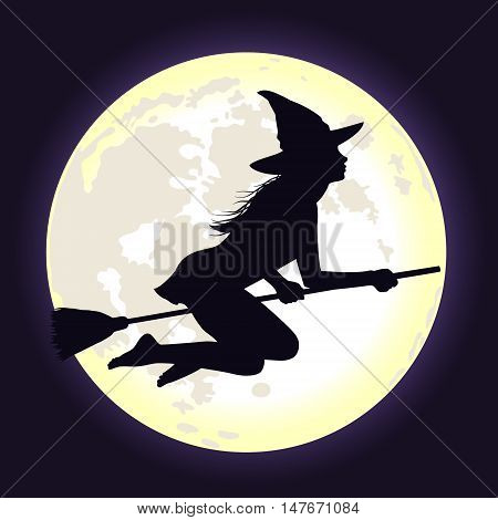 Beautiful shining moon in dark blue sky and silhouette of young witch flying on broomstick. Background for Halloween.