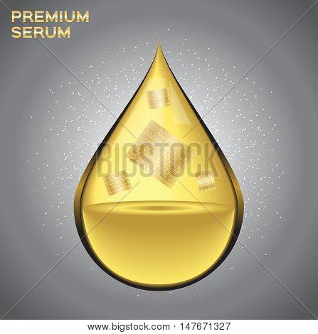 Premium gold shining serum droplet. Vector illustration , gold sheet inside the drop serum perfume