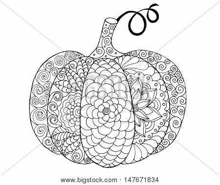 Black white hand drawn vector illustration. Traditional symbol of Thanksgiving Halloween autumn. Sketch for colouring page decoration poster print