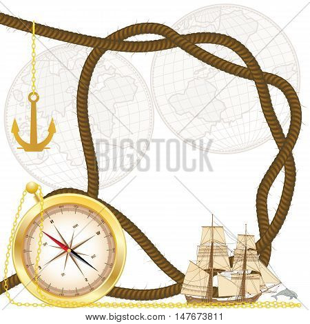 vector frame with tallship compass anchor timber hitch and dolphin (EPS 10)