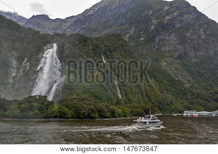 Milford Sound, New Zealand - February 2016: Lady Bowen Falls Milford Sound New Zealand