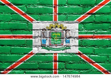 Flag Of Goiania, Goias State, Brazil, Painted On Brick Wall