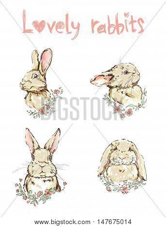 lovely rabbits vector, vector illustration of a cute bunny, set rabbits illustration