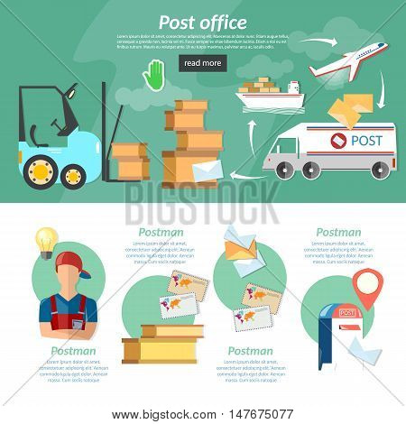Post banners infographics mail delivery mail letters and parcels shipping and handling vector illustration