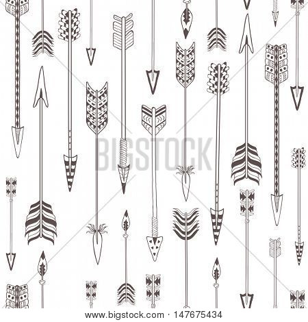 Seamless Pattern with Indian Arrows. Boho Style Ornament.