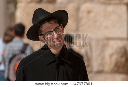 Orthodox Jewish Man Near The Western Wall .jerusalem. Israel