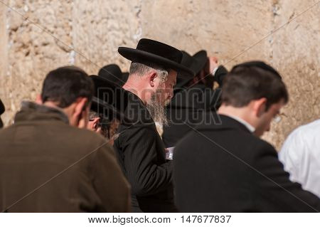 Many Of Orthodox Jewish People Near  The Western Wall .jerusalem. Israel