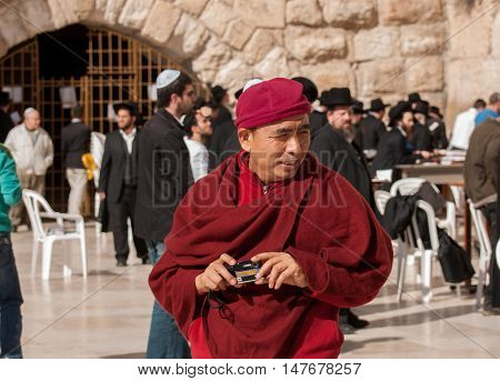 Buddhist Monks Near The Western Wall. Jerusalem. Israel