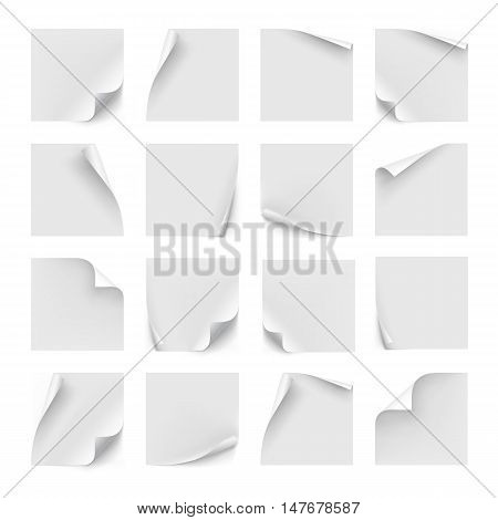 Vector set of white stickers. Paper for note, memo and notice. Sticky page with curl. Blank with shadow isolated on white background. poster