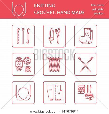 Modern vector line icons set of knitting and crochet. Hand made elements: yarn knitting needle knitting hook pin and others. Outline knitting symbol collection for invitations notes sites banner