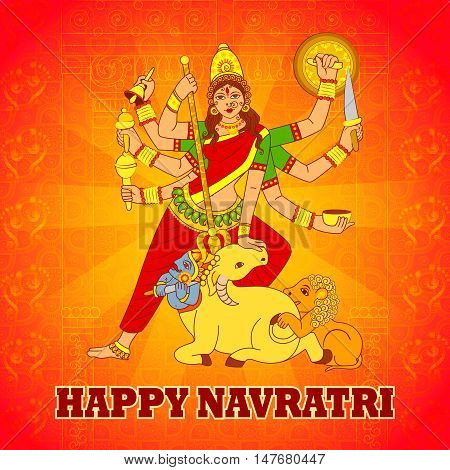 Vector design of Goddess Durga for Happy Navratri in Indian art style