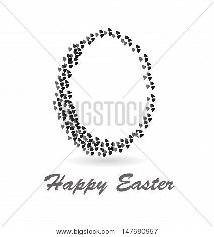 Vector abstract black and white retro easter egg isolated over white background. Happy easter!