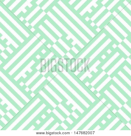 Striped pattern in white and mint green for summer spring fashion. Vector geometric background with overlapping stripes and lines. Bold texture with blocks placed diagonally. Techno striped pattern