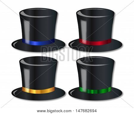 A collection of 4 posh top hats over a white background
