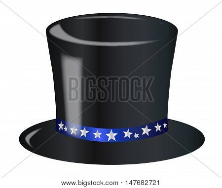 A top hat with a star spangled blue ribbon over a white background