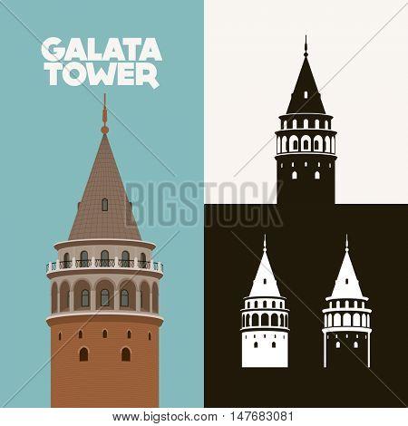 Vector illustration and silhouette drawing Galata Kulesi (Galata Tower), Istanbul, Turkey