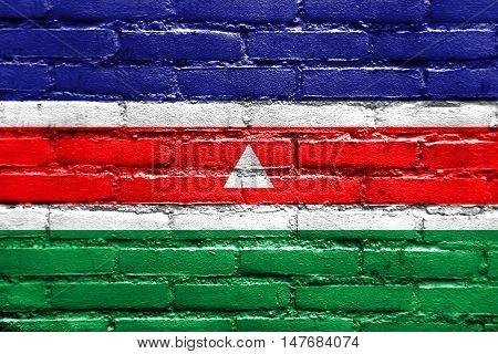 Flag Of Juiz De Fora, Brazil, Painted On Brick Wall