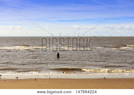 Tide at Crosby Beach near Liverpool with Anthony Gormley sculptures.
