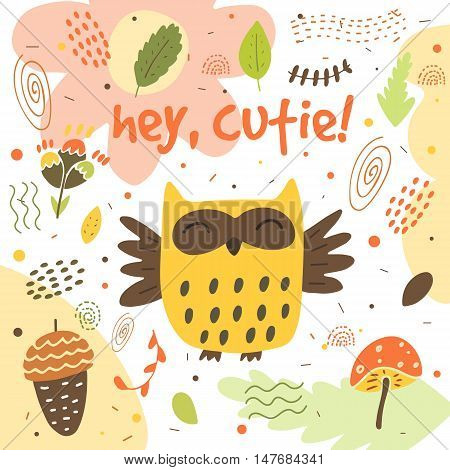 Cute hand drawn card postcard with owl acorn mushroom leaf flower forest plants polka dots abstract elements. Background cover for children in cartoon style