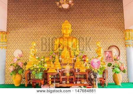 Phuket Thailand - July 30 2015 : Buddha statue at Sapum temple public place of worship