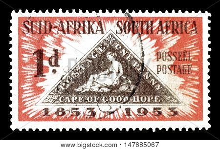 SOUTH AFRICA - CIRCA 1953 : Cancelled postage stamp printed by South Africa, that shows First postage stamp.