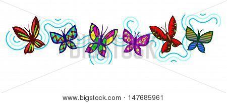 Dancing butterflies in a border trim design