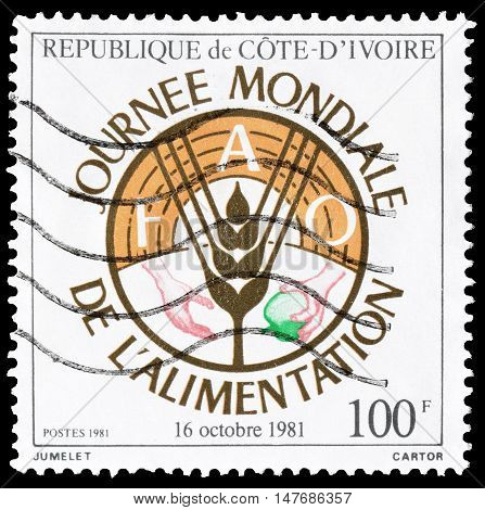 IVORY COAST - CIRCA 1981 : Cancelled postage stamp printed by Ivory Coast, that promotes World food day.