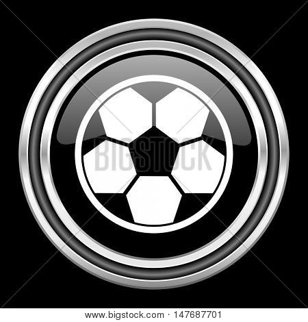 soccer silver chrome metallic round web icon on black background