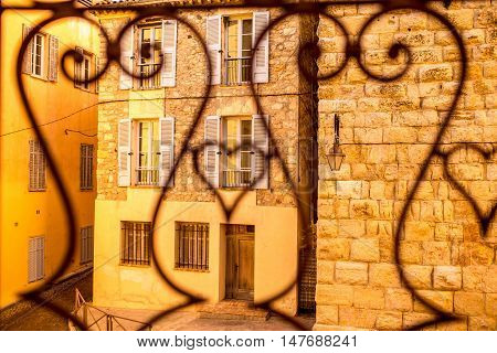 Old buildings in Antibes coastal village on the french riviera in France