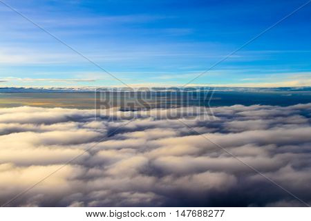 cloudscape. Blue sky and white cloud a large cloud formation