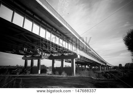 The skyway in monochrome somewhere in Russia. poster