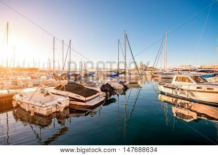 Sunset view on the harbor with expensive yachts on the french riviera in Antibes village in France