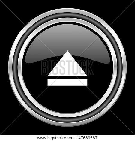 eject silver chrome metallic round web icon on black background