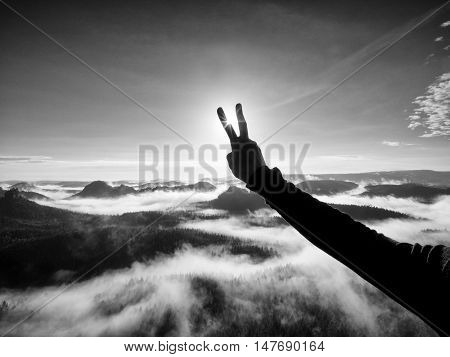 Man hand make victory to Sun. Misty daybreak in a beautiful hills. Peaks of hills are sticking out from foggy background. Black and white photo