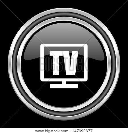tv silver chrome metallic round web icon on black background