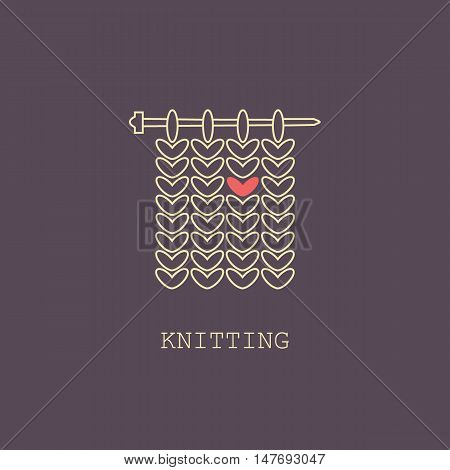 Knitting is love. Modern vector line icon of knitting. Knitting elements - yarn knitting needle. Outline symbol for knitting shops clubs. Knitting design element for sites. Knitting business.
